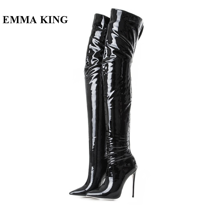 EMMA KING 2018 Sexy Pointy Toe Stiletto Heels Over The Knee Boots Thin High Heels Party Dress Night Club Thigh High Boots WomenEMMA KING 2018 Sexy Pointy Toe Stiletto Heels Over The Knee Boots Thin High Heels Party Dress Night Club Thigh High Boots Women