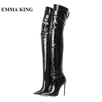 EMMA KING 2018 Sexy Pointy Toe Stiletto Heels Over The Knee Boots Thin High Heels Party Dress Night Club Thigh High Boots Women
