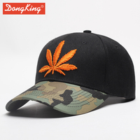 DongKing High Quality 3D Embroidery Maple Leaf Baseball Cap Snapback Hats For Men Women Cotton Hip Hop Fitted Baseball Hats