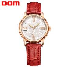 Женские часы dom Роскошные брендовые водонепроницаемые Стиль кварцевые кожа Мода часы Reloj G-1028