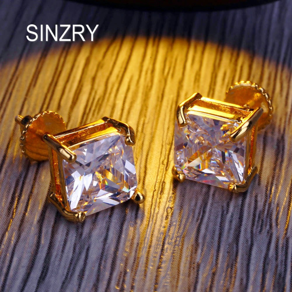 SINZRY 8mm square cubic Zirconia stud Earrings Hip hop Copper 4 claw screw Earrings Fashionable classic men Jewelry gift