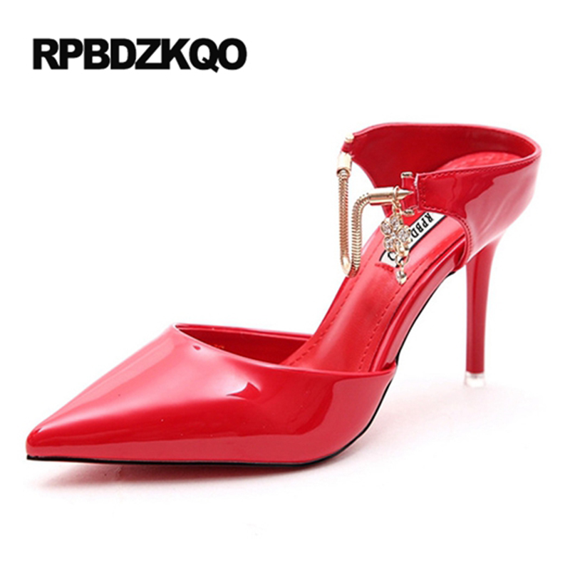цены Pointed Toe Patent Leather Rhinestone High Heels Crystal Scarpin Shoes Sandals Small Size Red Stiletto 4 34 Slingback Pumps