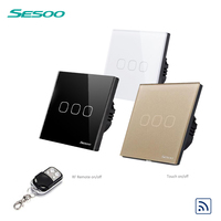 SESOO EU Standard 3 Gang 1 Way Crystal Glass Touch Switch With Remote Controller Fireproof Lighting