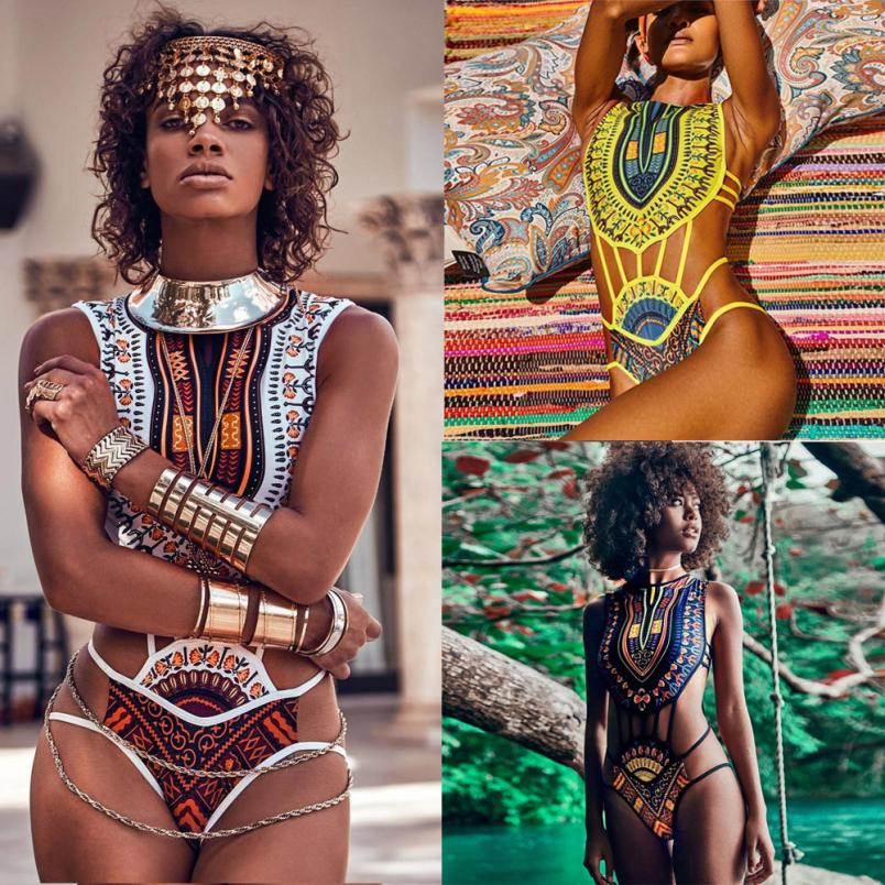 New Hot Sexy Women African Print Bikini Set Swimwear Push-Up Padded Bra Swimsuit Beachwear Playsuits Beach Bathing Suits biquini