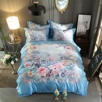 Blue King size Queen Bedding Set Luxury Jacquard 3D Bed set Cotton Fitted sheet Bed sheet Duvet cover linge de lit ropa de cama