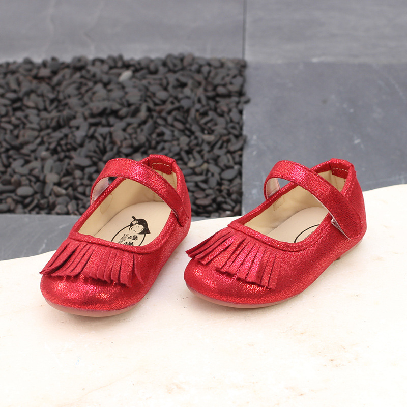 Girl Shoes Party Tassel Girl Princess Shoes Little Baby Toddler Shoes  Sapatos Menina Dress Flats Gold Red Chaussure Fille 21 25 -in Leather Shoes  from ... 969c97ad9e61