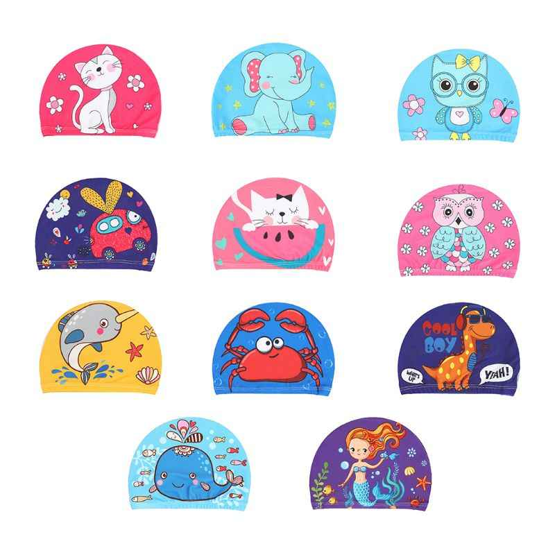 Children Baby Swimming Cap Cute Cartoon Animal Prints Waterproof Protect Ears Soft Polyester Lightweight Unisex Swim Accessory