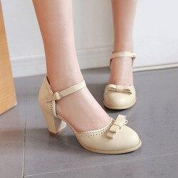 TAOFFEN Size 32-43 Women High Heels Sandals Leisure Buckle Strap Chunky Heel Shoes Women Summer Bowtie Sandalias Party Footwear 5