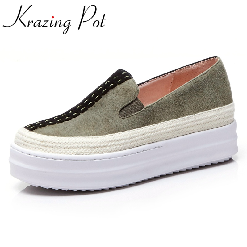 Krazing Pot sheep suede mixed colors slip on superstar round toe platform causal shoes runway increased wome vulcanized shoe L99  2017 superstar cow leather platform european ankle strap peep toe print mixed colors classic women increased runway sandals 0 4
