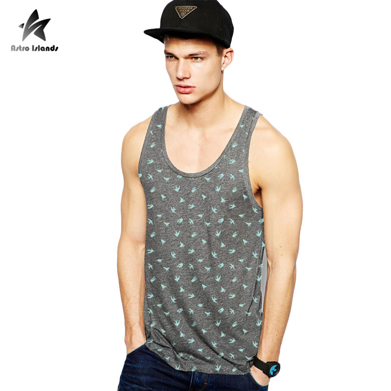2017 Summer Tank Tops Men Cotton Sleeveless Round Neck