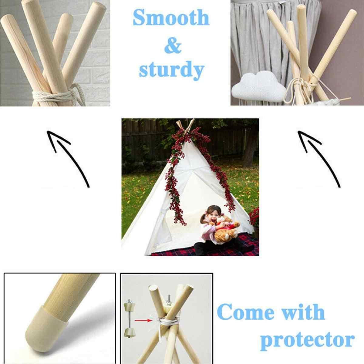 1.3m-duży obraz na płótnie Tipi namiot dla dzieci Tipi z szary Pom Poms indyjski grać Namiot zabawkowy dla dzieci Tipi Tee Pee namiot bez mata