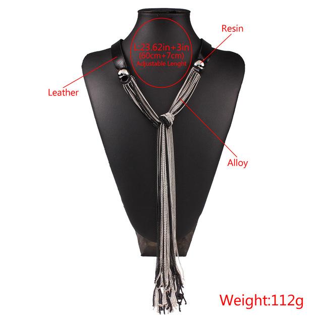 2018 New Vintage Long Women Necklace Leather Layers Tassel Sweater Chain Fashion Graceful Joker Kolye Kpop Mothers Day Good Gift