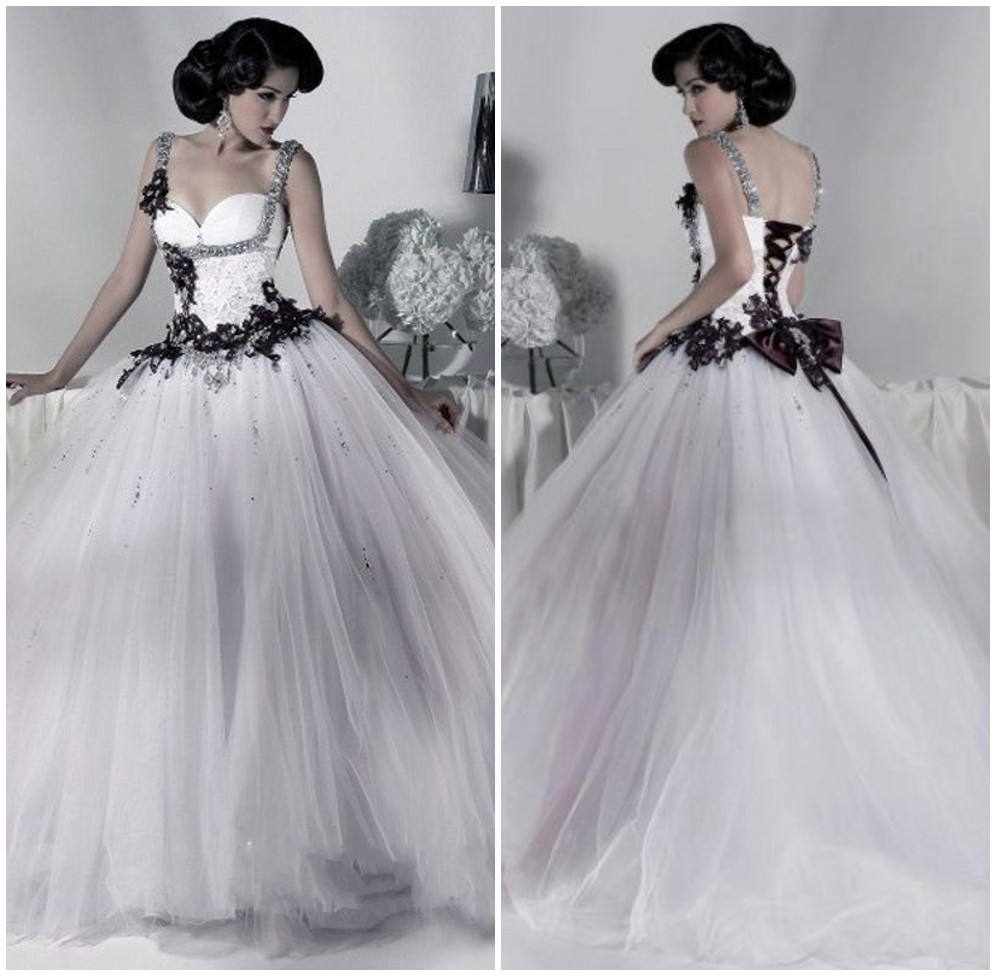Victorian Gothic Wedding Dress 2019 Ball Gown Tulle Appliques Sequins Beaded Straps Lace Up Back White and Black Wedding Dress-in Wedding Dresses from Weddings & Events    1