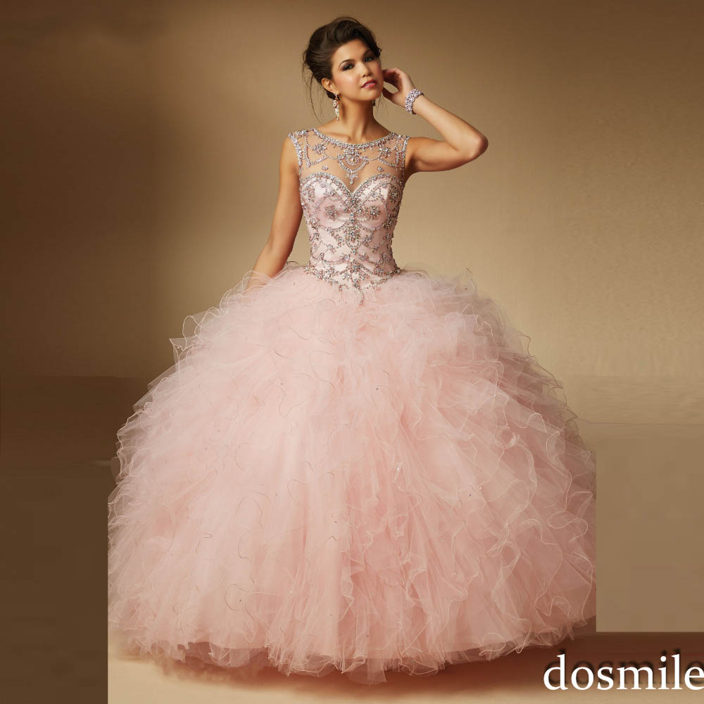 2017 sweet 16 dresses sheer neck Ball Gown light pink red ...