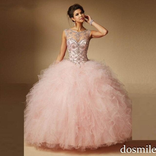 2017 sweet 16 vestidos sheer neck vestido de baile light pink vestidos bufantes longos cristais da faísca vestido masquerade vestidos quinceanera vermelho