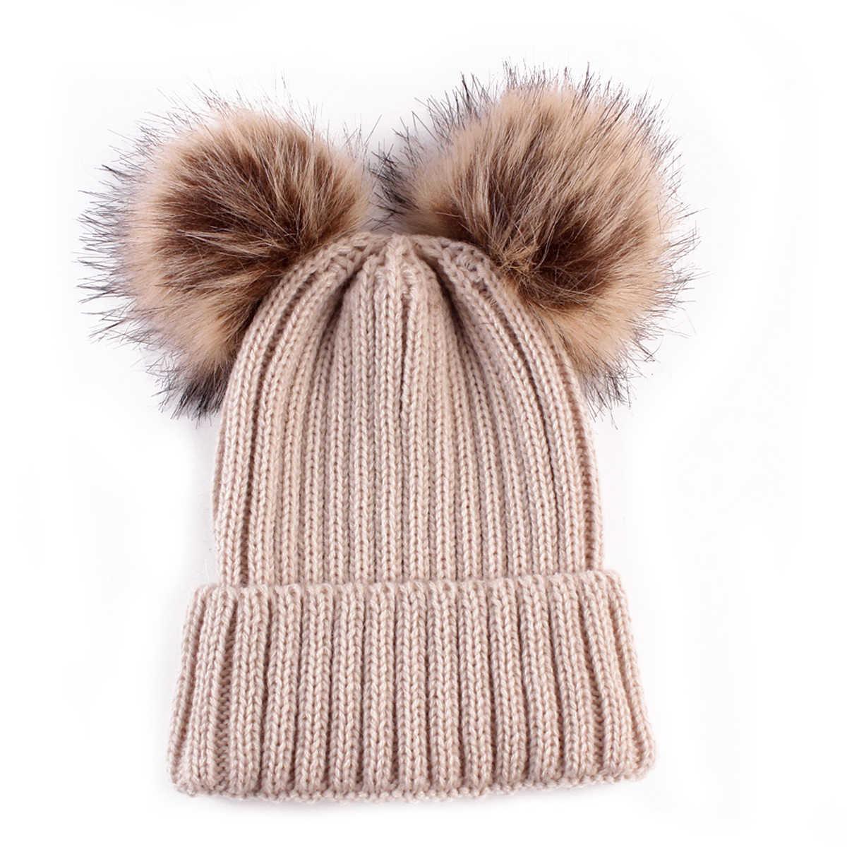 67168d8f6f9 ... Baby Boy girl Winter Warm Knit Beanie Hat Winter infant Hat Double  Pompom Hats Fur Ball