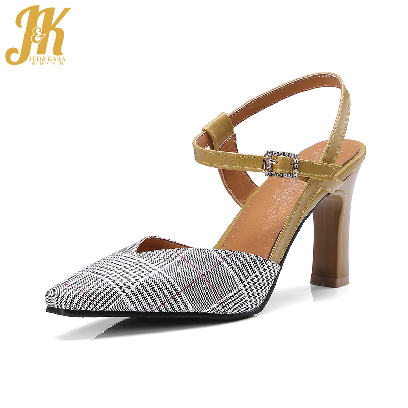 JK 2018 New High Heeled Summer Sandals Women Crystal Pointed Toe Buckle Plaid Rear Strap Footwear Party Female Shoes Big Size lady big size 4 15 elegant summer glitter buckle strap soft pointed toe thin high heeled sandals shoes women pumps 5colors girls