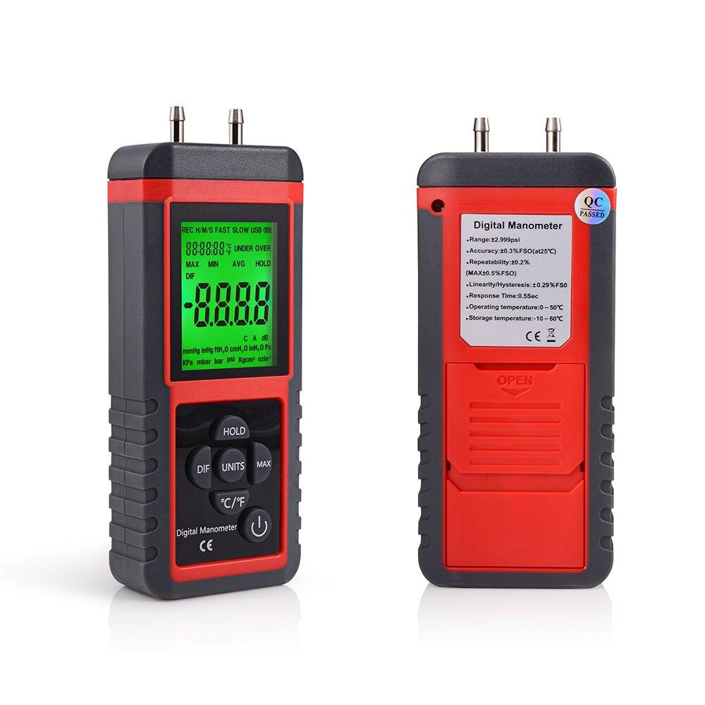 Profissional Alça Diferencial Manômetro Medidor De Pressão De Ar Instrumento de Medição De Pressão De Gás Sensor de Pressão Digital 12 Unidade