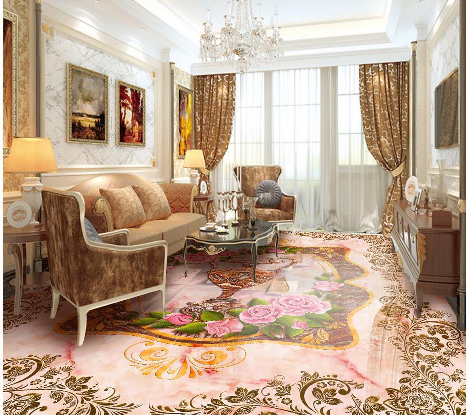 Rose Vase marbre plancher pvc auto-adhésif papier peint plancher papier peint 3d pour salles de bains 3d plancher