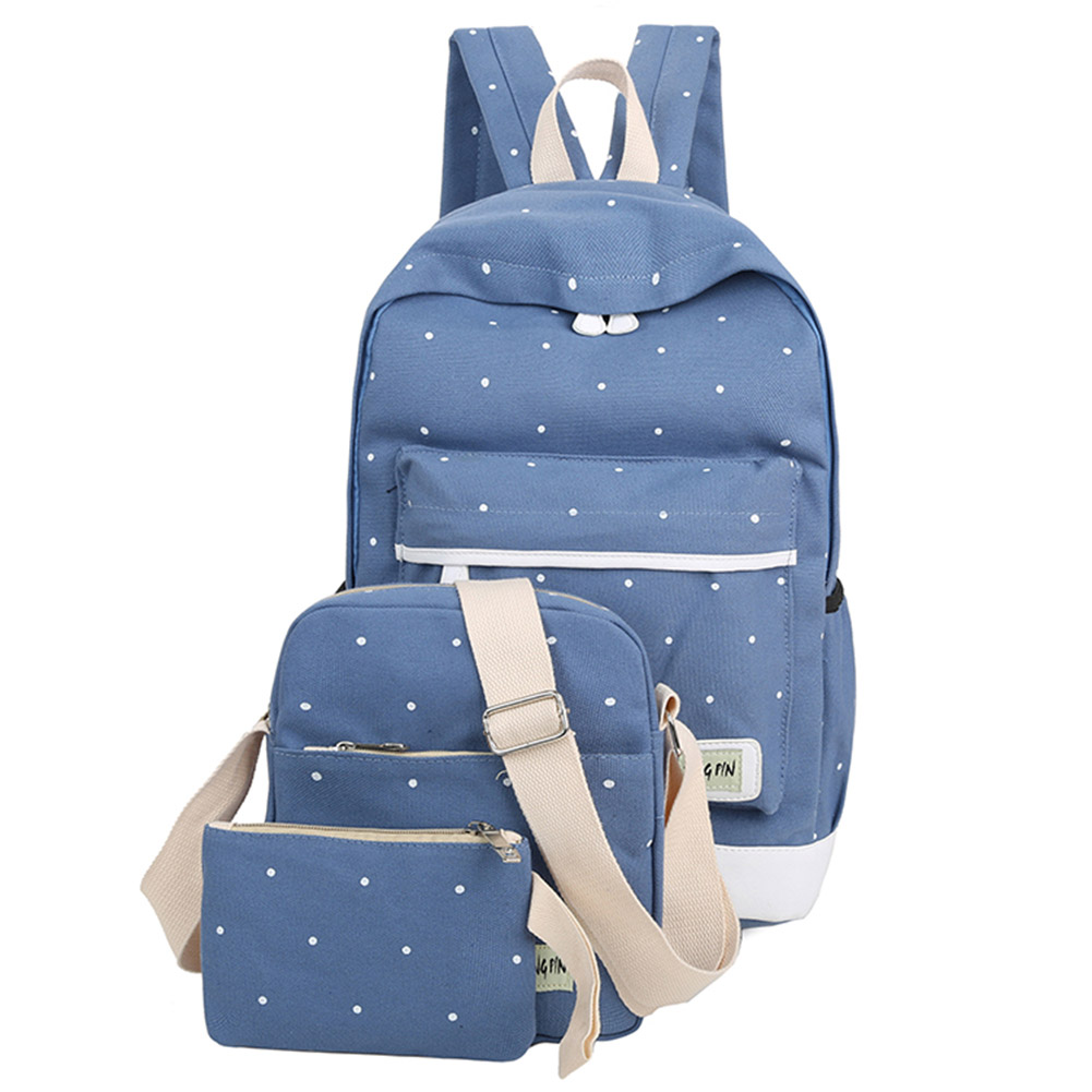3PCS/Set Bag High Quality Ladies School Bag Casual Canvas Women Backpack Girl Student Book Bag With Purse Laptop Best S