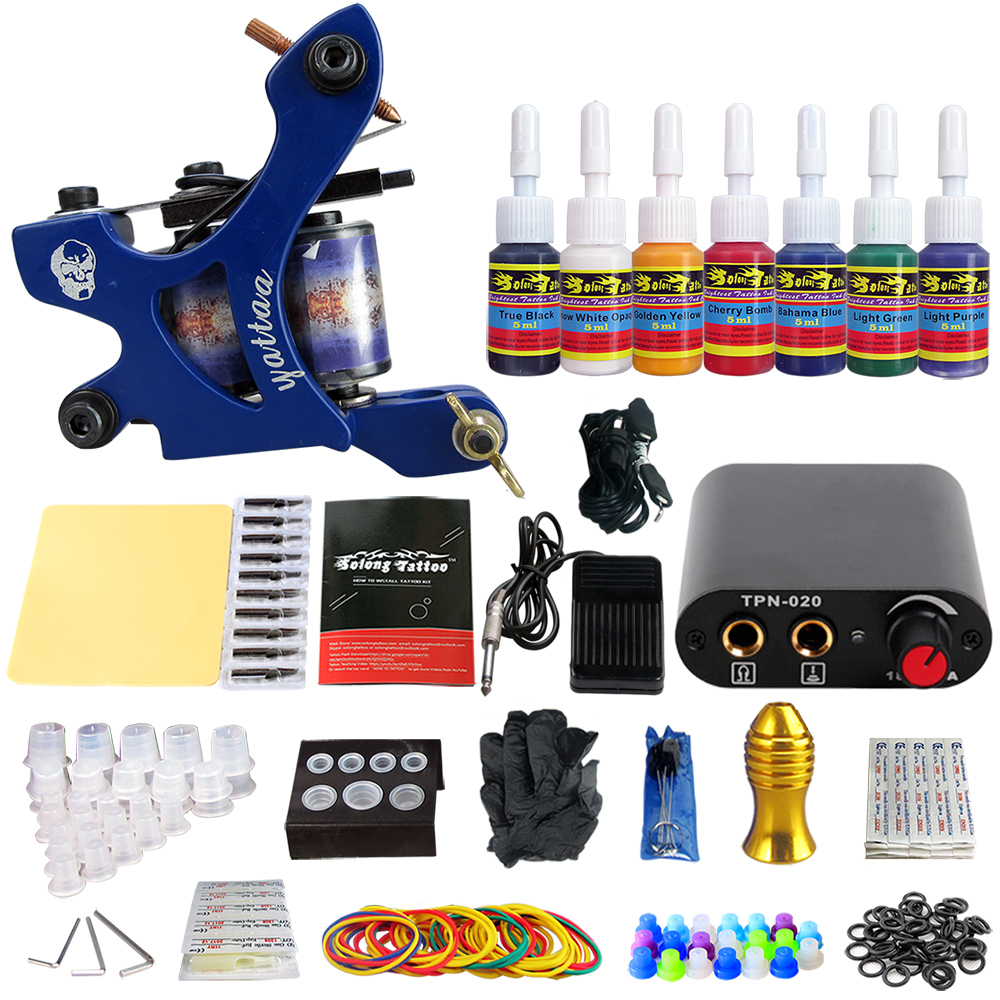 Stigma Tattoo Kit New Arrival 1 Professional Machine Gun Power Supply 7 color ink set TK105-65Stigma Tattoo Kit New Arrival 1 Professional Machine Gun Power Supply 7 color ink set TK105-65