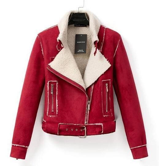 Pink/Red Short Lambs Faux Sheepskin Coat Shearling 021-in Faux Fur ...