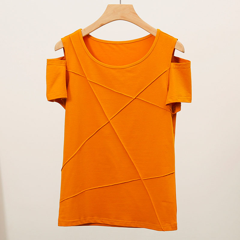 Ggright Women Summer Off Shoulder T-shirt Women T Shirt Sexy O-neck Cotton Top T-shirt Solid Short Sleeve Tee Shirt Femme 2019