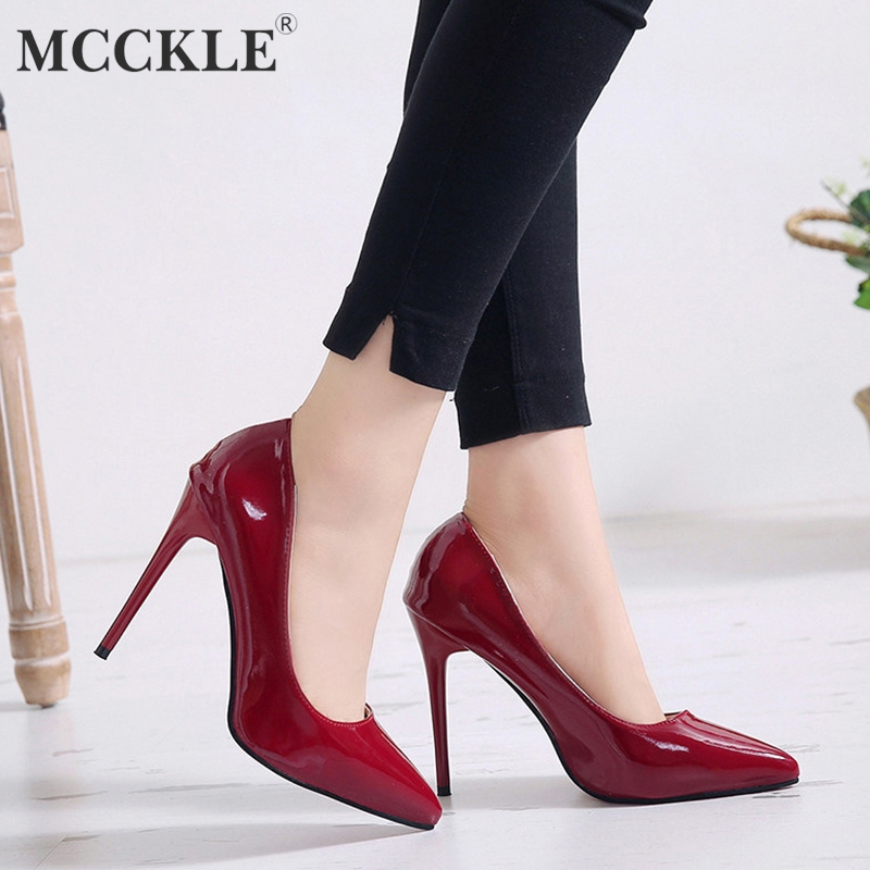MCCKLE  Plus Size Spring Women High Heels Sexy Patent Leather Pumps Female Slip On Thin Heel Ladies Party Wedding Shoes Stiletto-in Women's Pumps from Shoes on AliExpress - 11.11_Double 11_Singles' Day 1