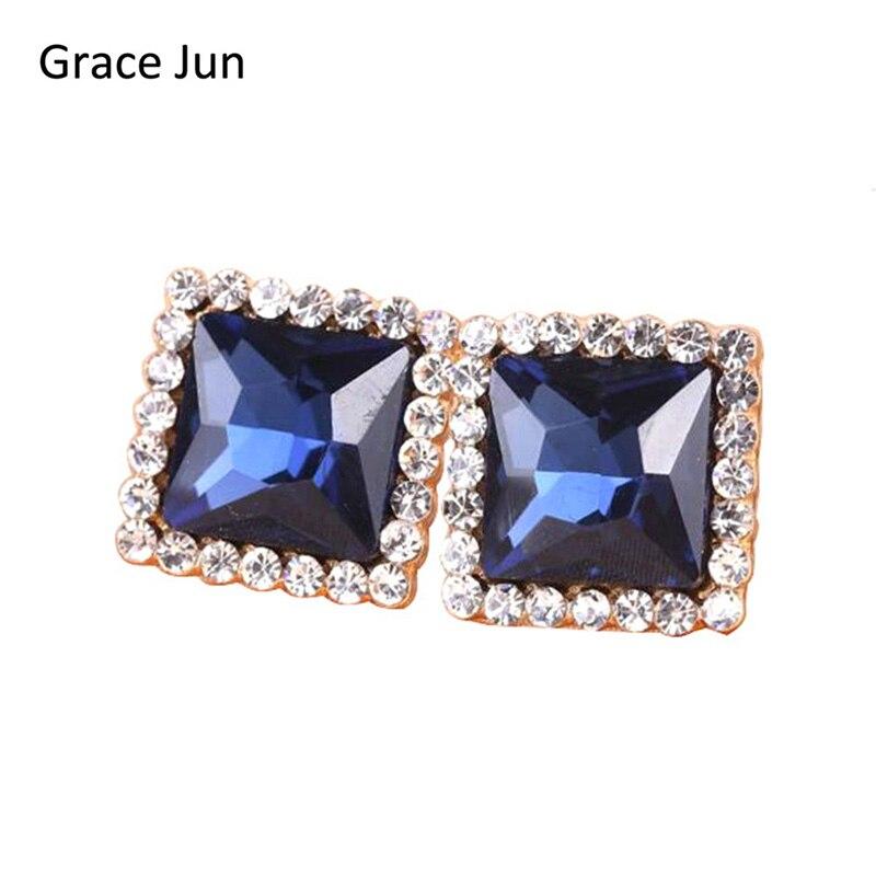 Vintage Rhinestone Opal Square Earrings Non Pierced Earrings Woman Ear Clip On Earrings For Party Wedding Jewelry No Ear Hole Earrings Clip Earrings