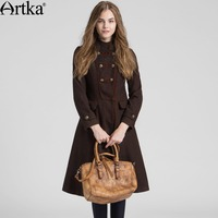Artka Women S Autumn New Solid Color A Line Wool Coat Vintage Stand Collar Long Sleeve