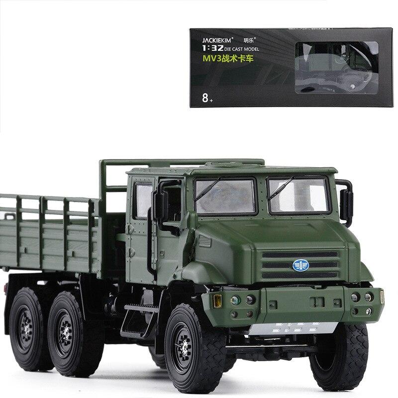 JACKIEKIM 1/36 масштаб военная модель игрушки Faw Jiefang Mv3 Тактический грузовик звук и свет литья под давлением Металл Модель автомобиля игрушка для ...