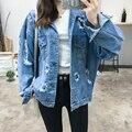 Мода Стиль Punk Ripped Отверстия Джинсовая Куртка С Длинным Рукавом Однобортный Пальто Осень Зима Верхняя Одежда Женщин Плюс Размер QQLP0895