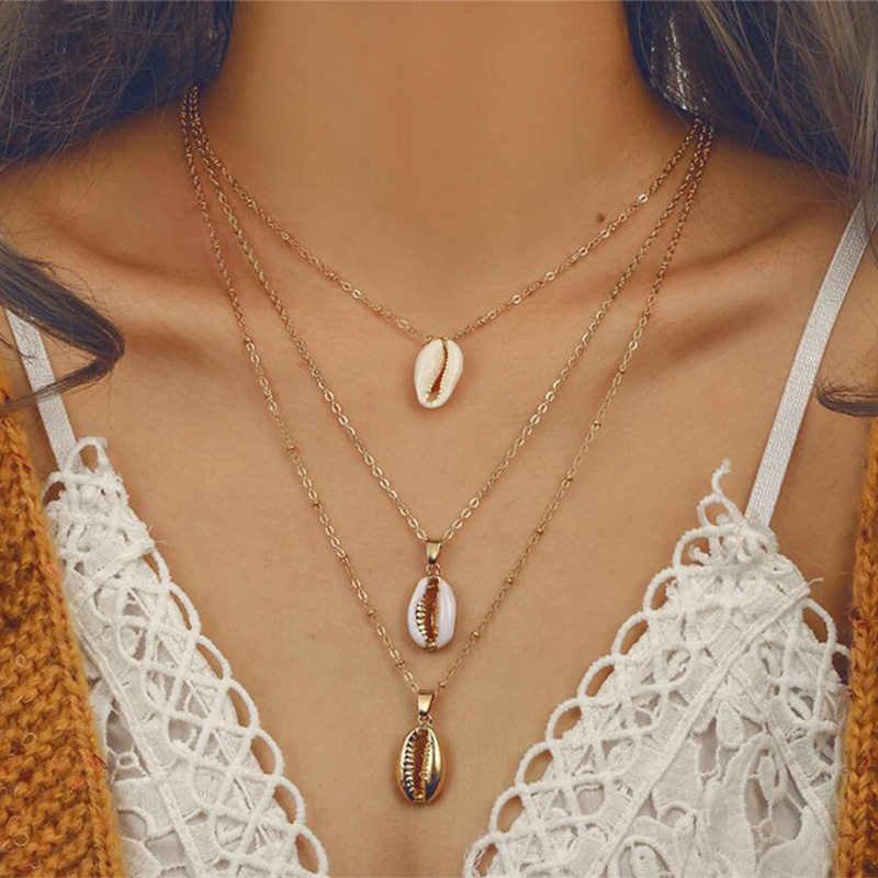 Fashion Bohemian Multilayer Ozean Muschel Strand Anhänger Halskette Frauen Mode Gold Farbe Strand Shell Kette Halskette Schmuck