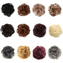 Women Girls Synthetic Hair Extension Bun Donut Updo Ponytail Holder Elastic Wave Curly Wig Decorative Hairpieces Wrap Scrunchies