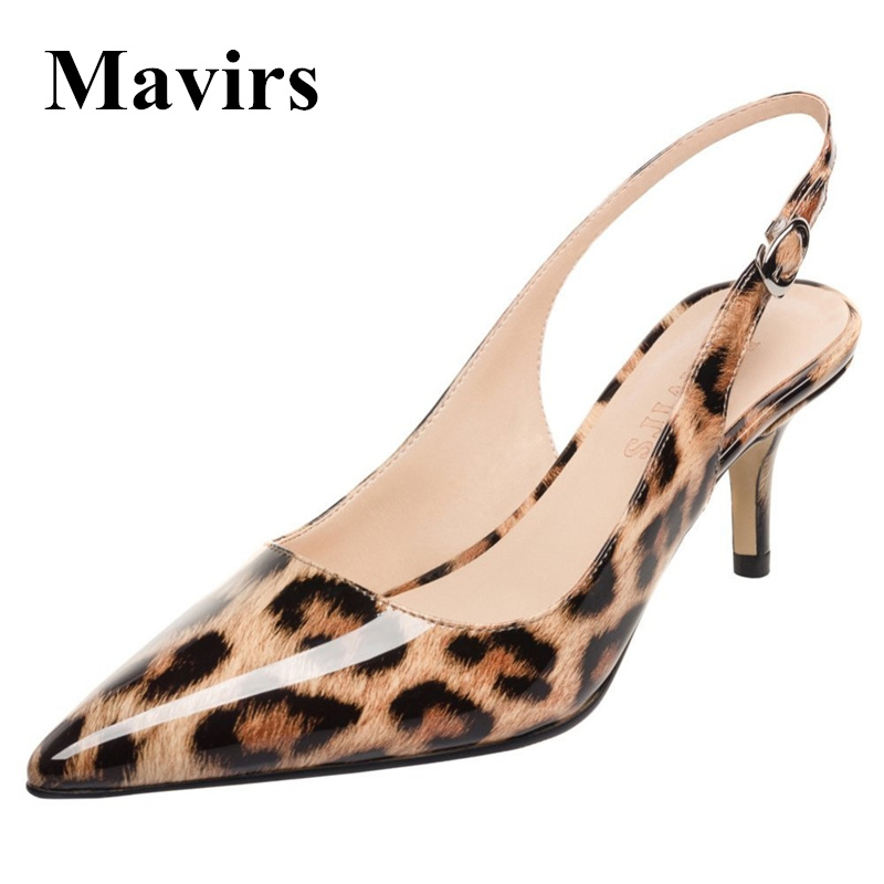 MAVIRS Brand Women Pumps 2018 Spring Pointed Toe Leopard Patent 6.5CM High Heels Stilettos OL Dress Party Shoes US Size 5-15 ladies red shoes 2018 spring patent cross straps gladiator pointed toe sandals women high heels party wedding pumps shoes 43