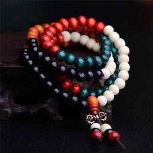 Image 4 - 108 Beads 8mm Natural Sandalwood Buddhist Buddha Wood Prayer Bead Male Unisex Men Bracelets & Bangles Jewelry Bijoux