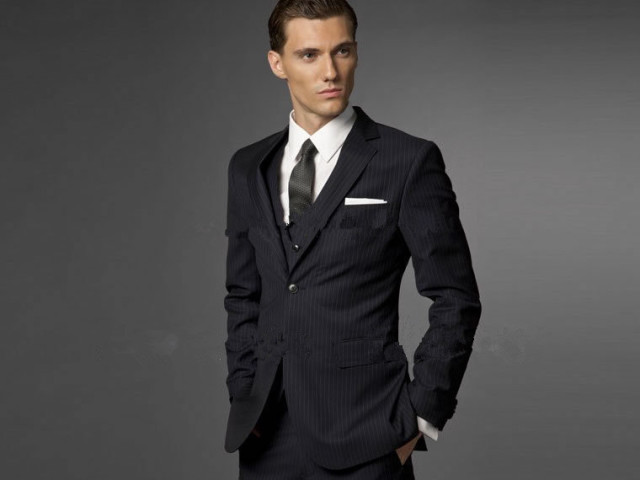e9db9958dfc Black Business Men Suits Custom Made