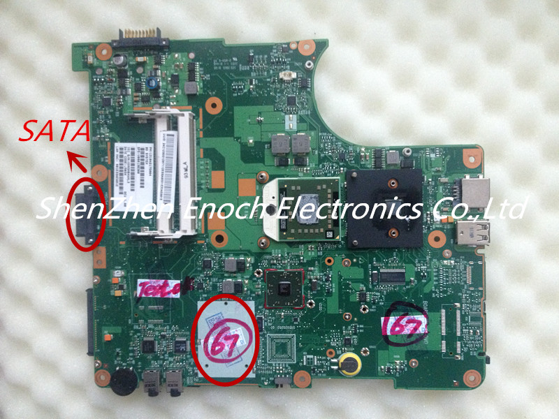 ФОТО For Toshiba Satellite L300D laptop motherboard V000138300 6050A2175001-MB-A02 SATA DVD interface,send with one AMD cpu as a gift