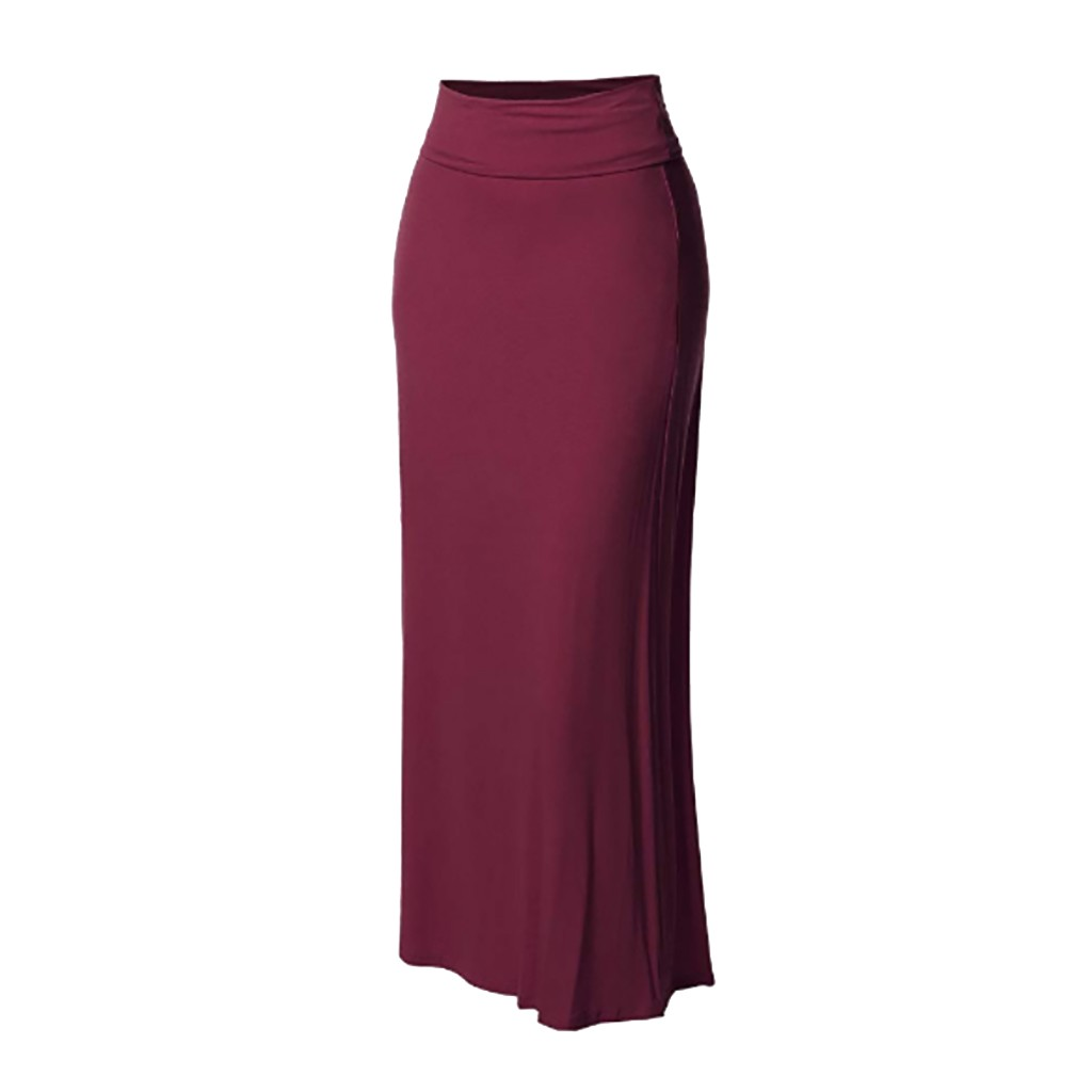 Summer Women Solid Color High Waist Comfort Stitching Long Maxi Skirt Women Casual Pencil Floor-Length Fashion Skirt G0410#20