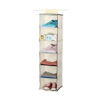 Household Essentials 6 Shelf Hanging Closet Organizer Shelves, Natural  Non Woven