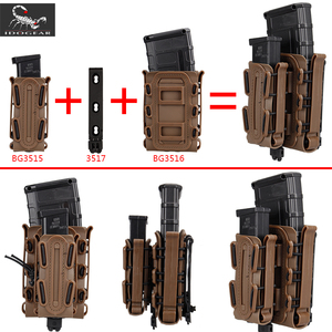 Image 4 - IDOGEAR US army Magazine Pouches Military Fastmag Belt Clip plastic molle pouch bag 9mm softshell G code Pistol Mag Carrier tall