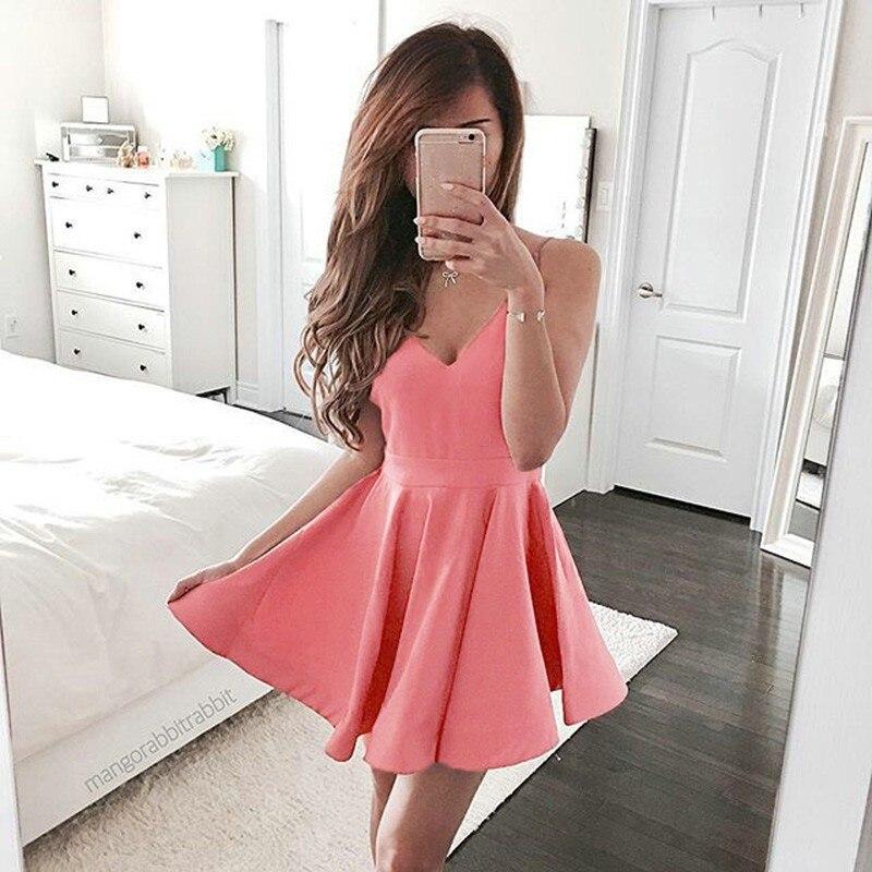 ▽Mujeres Vestidos de Rosa caliente Vestidos de Verano Sin Mangas ...