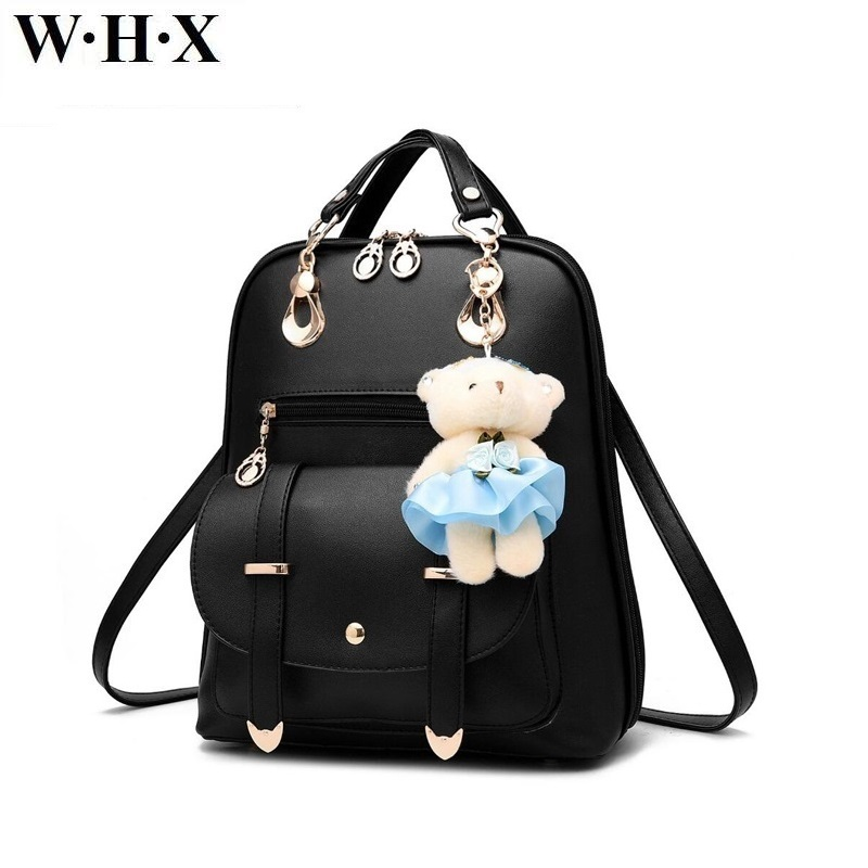 WHX Leisure Women Backpack Female PU Leather Satchel School Bags For Girls Knapsack Lady Backpacks Schoolbag Book Bag With Gift anime big hero baymax adventure time backpack canvas bag school bags for boys girls casual schoolbag knapsack gift