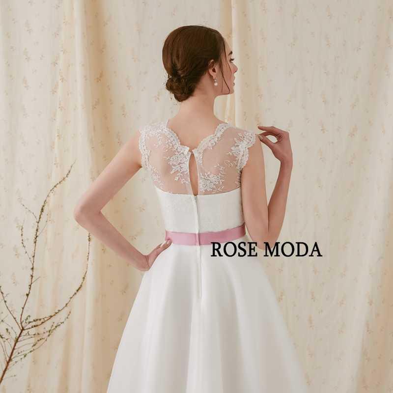 346e9557821e9 Rose Moda Fashion Short Wedding Dress 2019 with Pink Flower Sash V Neck  Knee Length Beach Wedding Dresses with Lace Back