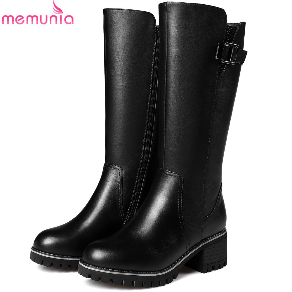 MEMUNIA fashion women boots round toe ladies genuine leather boots square heel zipper cow leather wool keep warm mid calf boots spring black coffee genuine leather boots women sexy shoes western round toe zipper mid calf soft heel 3cm solid size 36 39 38
