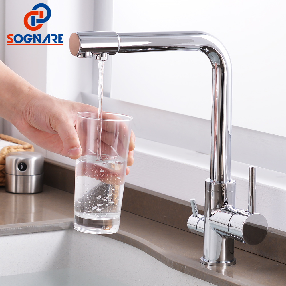 SOGNARE 3 Way Kitchen Faucet Solid Brass Mixer Tap 360 Rotation with Water Purification Features Faucet for Kitchen Water Taps