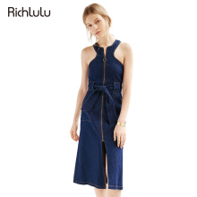 RichLuLu Sexy Sleeveless A-line Dress Women Blue Belt Denim Dress Female Zipper Fly Pockets Casual Midi Dress Vestidos