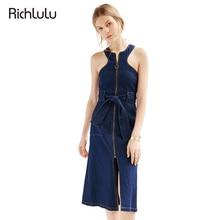 RichLuLu Sexy Sleeveless A-line Dress Women Blue Belt Denim Dress Female Zipper Fly Pockets Casual Midi Dress Vestidos