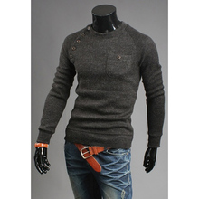 Zogaa New Brand Mens Sweaters Fashion O-Neck Solid Color Single Pocket Design Long Sleeve Pullover Drop Shipping 3 COLOR