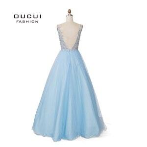 Image 2 - Sky Blau Weiß Appliques Blumen Prom Kleider 2019 Sexy V ausschnitt Elegante Frauen Kleid Hochzeit Abend Vestido De Novia OL103448